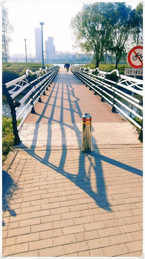 다리를 건너 한강공원으로